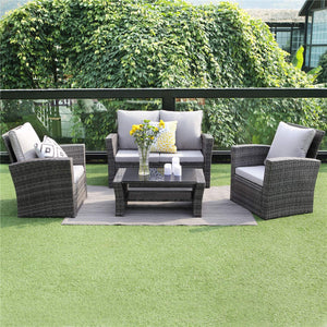 Wisteria Lane 5 Piece Outdoor Patio Furniture Sets, Wicker Ratten Sectional Sofa with Seat Cushions,Gray
