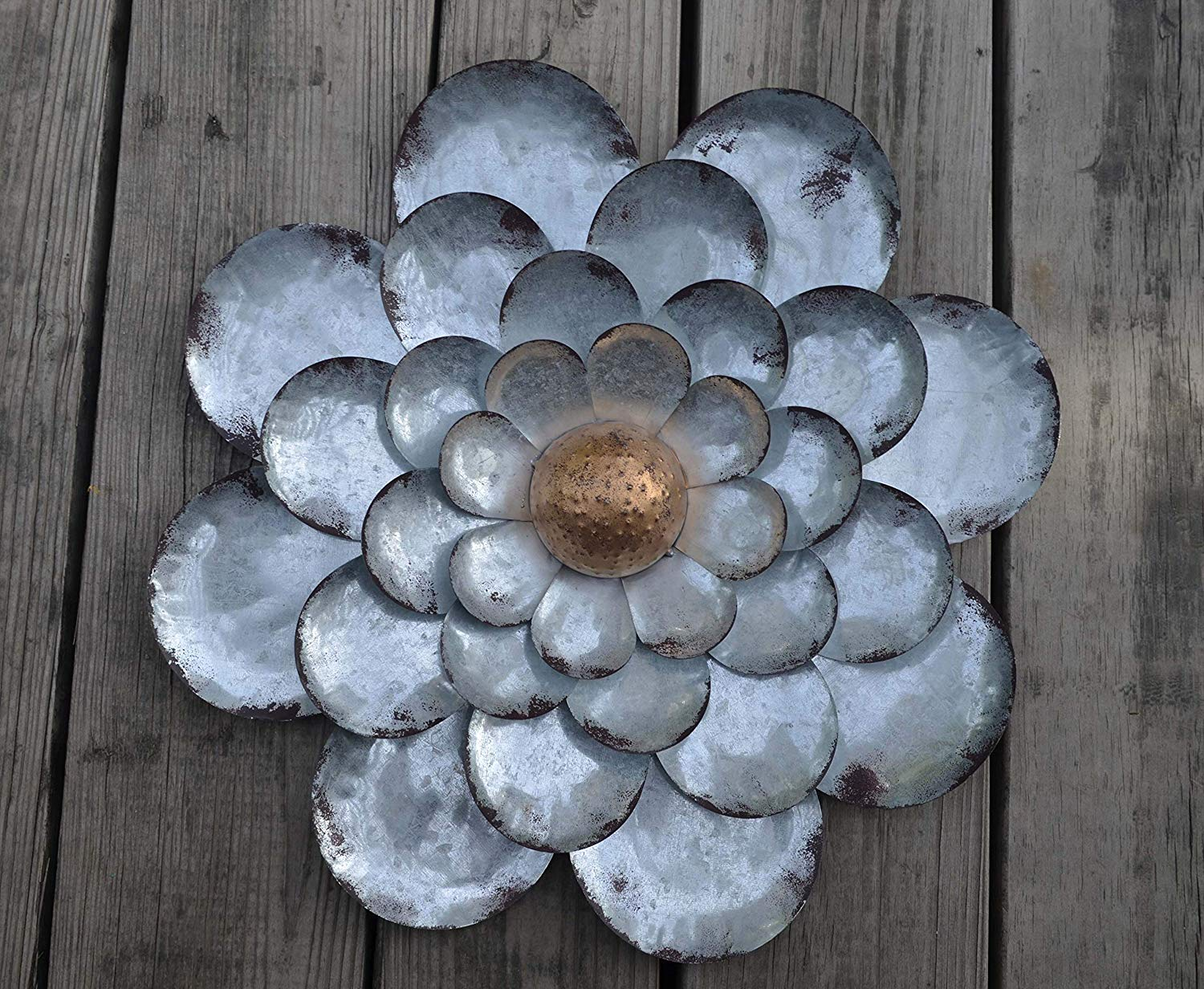 GIFTME 5 Galvanized Flowers Wall Décor Set of 3 Metal Flower Wall Art