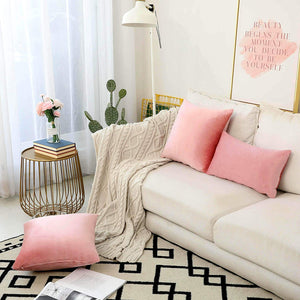 HOME BRILLIANT 2 Pack Valentines Decor Velvet Cushion Covers Set Throw Pillow Cases Covers Square Decorative Pillowcases, 18 x 18 inches(45x45 cm), Blush Pink