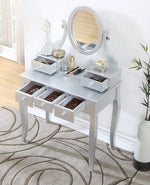 Roundhill Furniture 3418SL Ashley Silver Wood Makeup Vanity Table and Stool Set Sliver