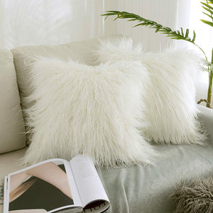 "Kevin Textile Set of 2 Decorative New Luxury Series Merino Style Off-White Fur Throw Pillow Case Cushion Cover Pillow Covers for Bed (18"" x 18"" 45cm x 45cm)"