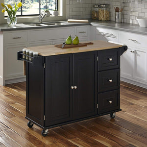 Home Styles 4510-95 Liberty Kitchen Cart with Wood Top, Black