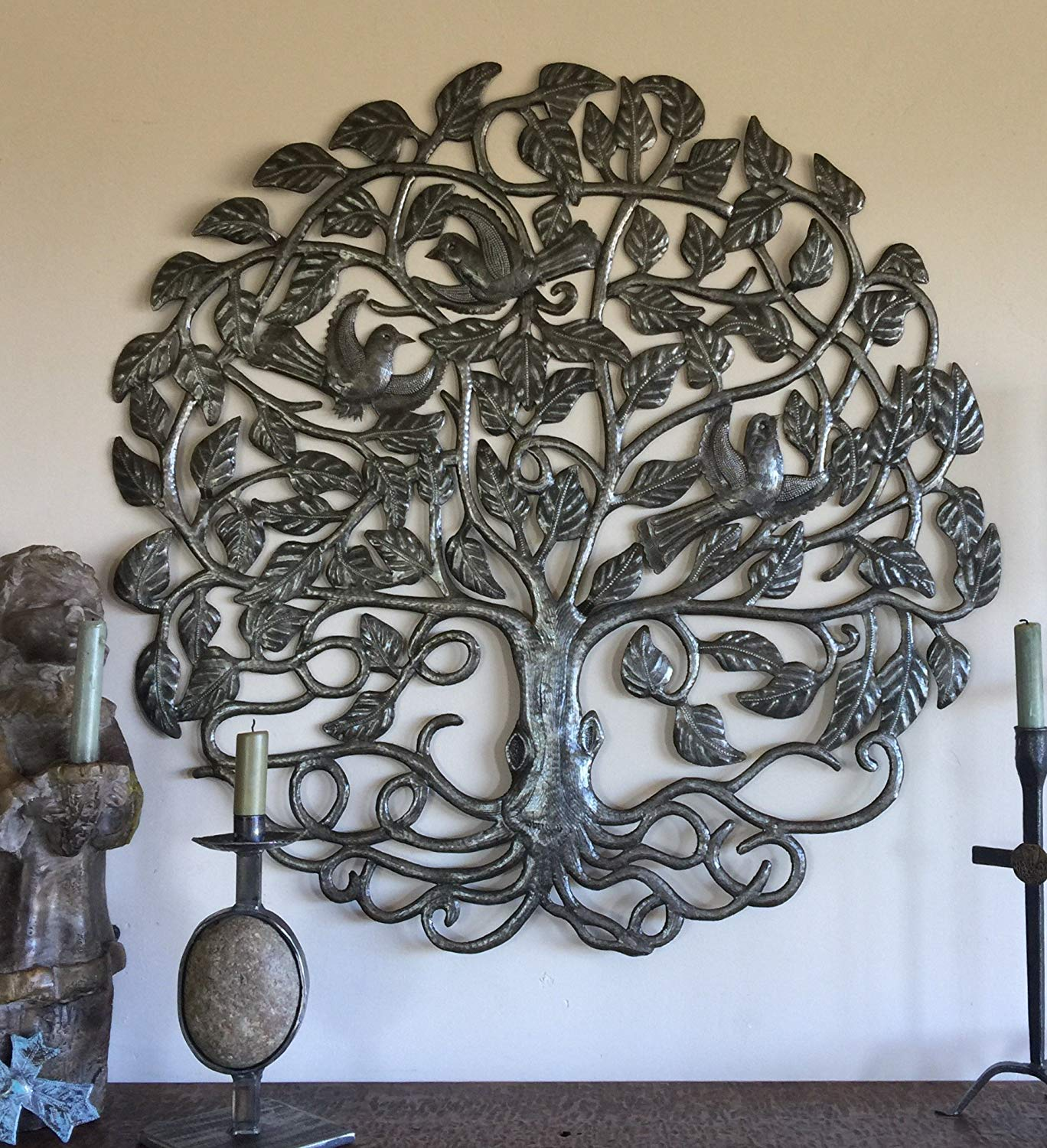"Large Metal Tree of Life, Wall Hanging Sculpture from Haiti, No Machines Used, Handmade, Home Decor 32"" Round"