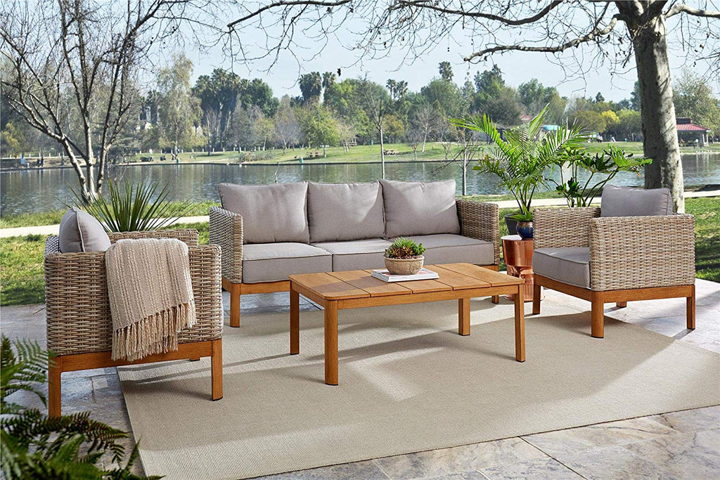 COSCO Outdoor Furniture Set, Coffee Table, Sofa, Chair Set, 4 Piece, Tan Wicker, Warm Gray Cushions