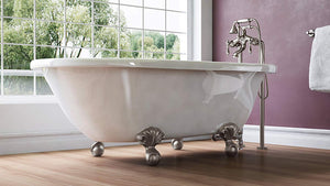Luxury 54 inch Small Vintage Clawfoot Tub in White, Includes Brushed Nickel Ball and Claw Feet and Drain, From The Highview Collection