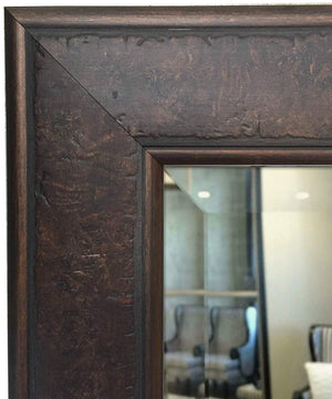"West Frames Marcello Rustic Rectangular Framed Wall Mounted Mirror (38"" x 56"", Walnut Brown)"