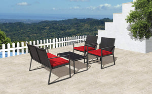 PATIORAMA Outdoor Patio Furniture, 4 Piece Patio Set with Red Cushions, Steel Frame (Red)