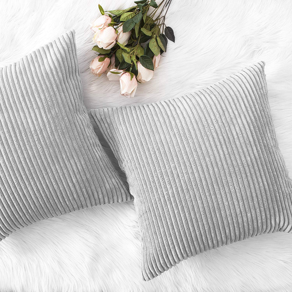 "HOME BRILLIANT Decor Throw Pillows Striped Velvet Cushion Cover for Chair Decorative Pillowcase, Set of 2, Light Grey, 18""x18""(45cm)"