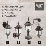 IN HOME 1-Light Outdoor Garden Post Lantern L03 Lighting Fixture, Traditional Post Lamp Patio with One E26 Base, Water-Proof, Bronze Cast Aluminum Housing, Clear Glass Panels, (2 Pack) ETL Listed