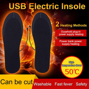 USB Charging Heated Foot Insoles Warmer Rechargeable