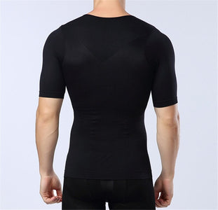 Men Body Shapewear T-shirt Abdomen Control Belly Trimmer Waist Trainers