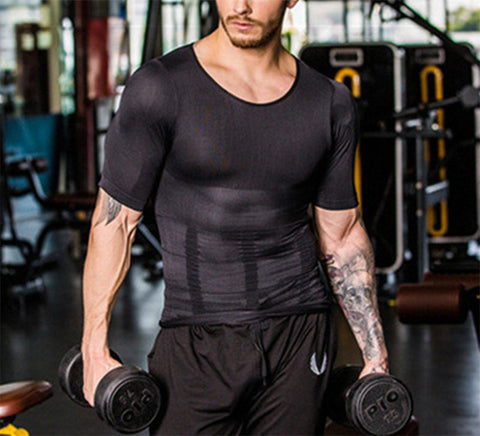 Image of Men Body Shapewear T-shirt Abdomen Control Belly Trimmer Waist Trainers