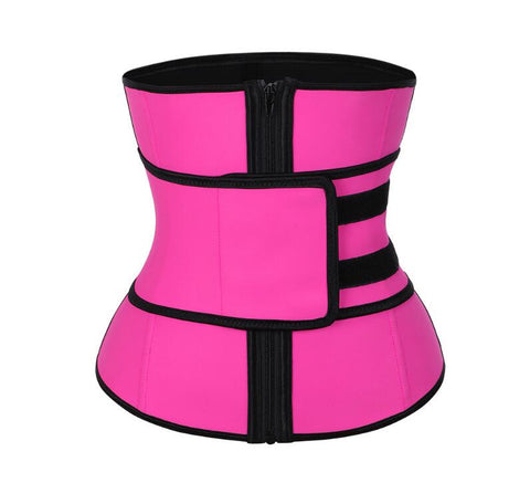 Image of Abdominal Belt High Compression Zipper Plus Size Latex Waist Cincher Corset Body Trainer