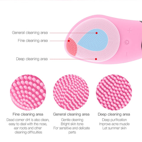 Image of Mini Electric Facial Cleansing Brush Silicone Sonic Deep Pore Face Cleaner