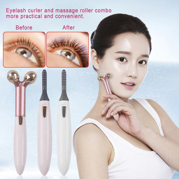 2 In 1 Portable 3D Heated Eyelash Curler Face Slimming Massage Roller Eye Lashes