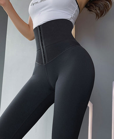 Image of Solid High Waist Warm Casual Fitness Workout Push Up Leggings