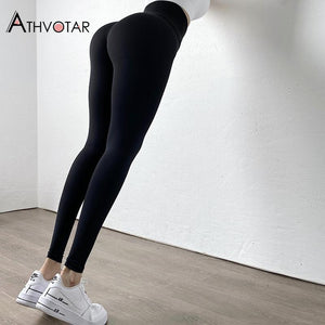 Solid High Waist Warm Casual Fitness Workout Push Up Leggings