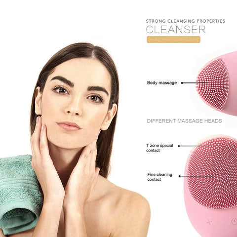 Image of Silicone Facial Cleansing Sonic Vibration Massage Face Deep Pore Cleaning Waterproof