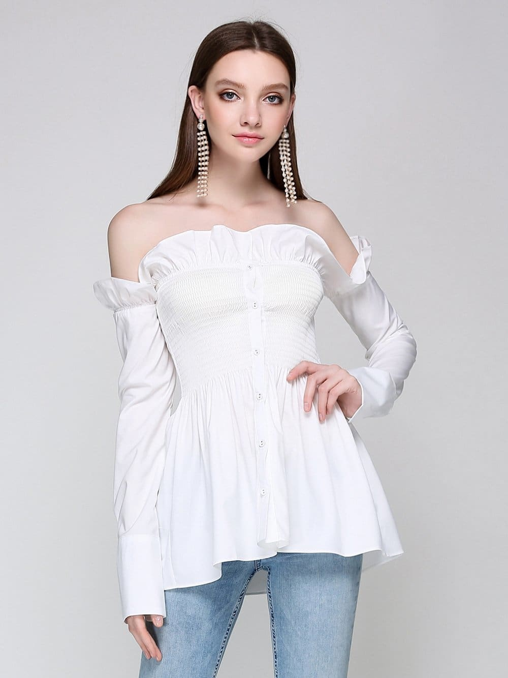 802f133b99b4d5 White Off The Shoulder Tops Long Sleeve
