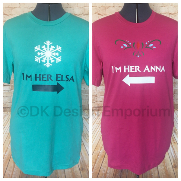 Set of Anna and Elsa Fitted Unisex T-Shirts