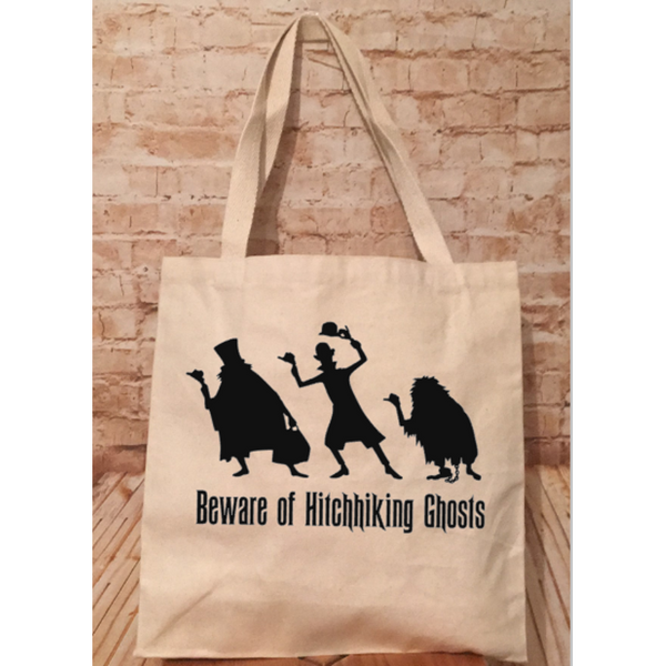 Beware of Hitchhiking Ghosts Haunted Mansion Inspired Canvas Tote Bag