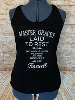 Master Gracey Tombstone Tank - Haunted Mansion Inspired