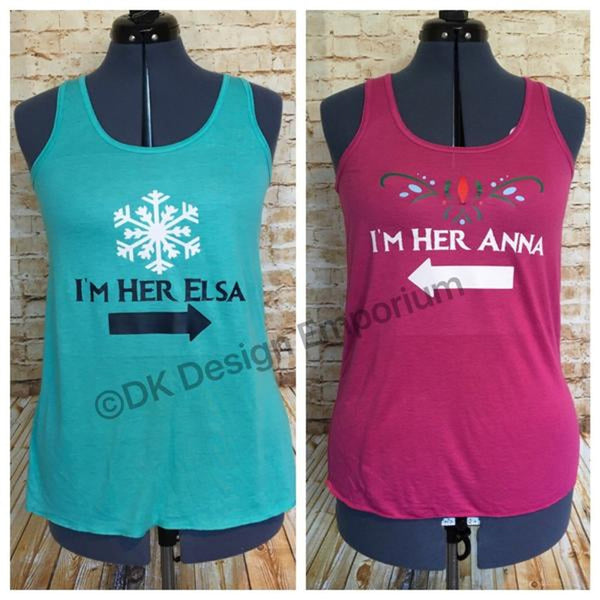 Set of Anna and Elsa Flowy Women's Tank Tops