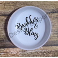 Baubles & Bling Script Ceramic Ring Dish