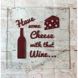 Cheese and Wine Glass Trivet Mini Cutting Board