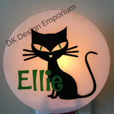 Personalized Black Kitty Night Light