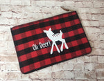 "Buffalo Plaid Spotted Deer ""Oh Deer!"" Flannel Clutch"