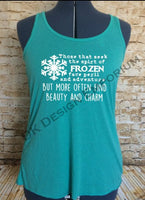 "Frozen Maelstrom Mashup Flowy Women's Tank Top - ""Face Peril & Danger"" Design"