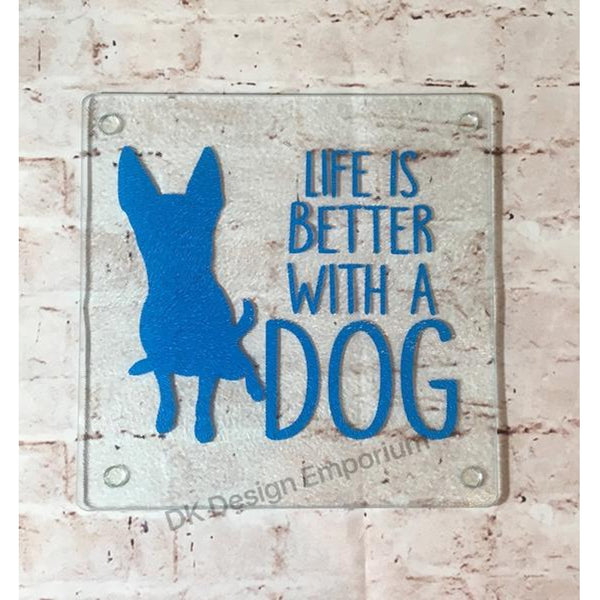 Life is Better with a Dog Glass Trivet Mini Cutting Board