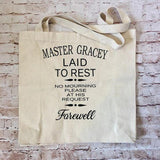 Master Gracey Tombstone Canvas Tote Bag