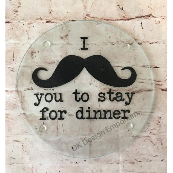 Mustache Joke Glass Trivet Mini Cutting Board