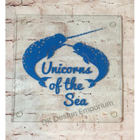 Narwhal Unicorns of the Sea Glass Trivet Mini Cutting Board