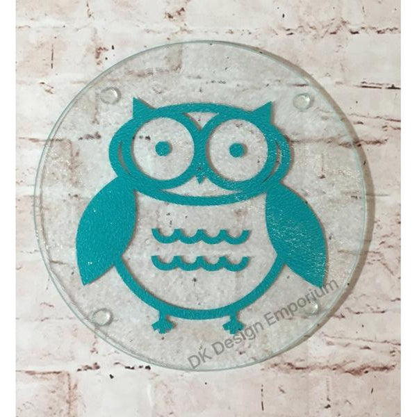 Owl Round Glass Trivet Mini Cutting Board