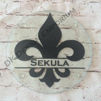 Personalized Glass Fleur de Lis Trivet Mini Cutting Board