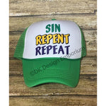 Sin Repent Repeat Mardi Gras Trucker Hat