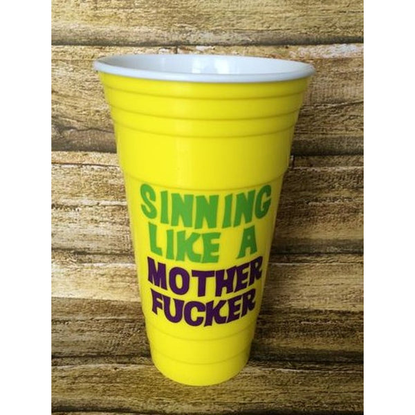 Sinning Like a Motherfucker Mardi Gras Tumbler