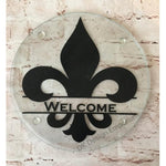 Welcome Fleur de Lis Glass Trivet Mini Cutting Board