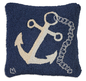 "Anchor With Chain 18"" Hooked Wool Pillow"
