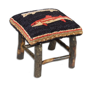 River Fish Stool with Hooked Wool Top and Hickory Base