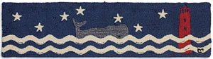 Wavy Whale Hooked Wool Rug - Free Shipping