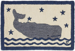 "Whale In Water 20""X30"" Hooked Wool Rug"