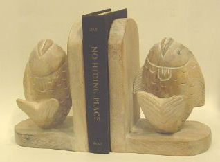 Fish Bookends, Whitewash-NAUTICAL BOOK ENDS..View All-Nautical Decor and Gifts