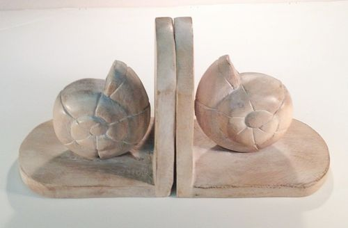 Nautilus Shell Bookends, Whitewash-NAUTICAL BOOK ENDS..View All-Nautical Decor and Gifts