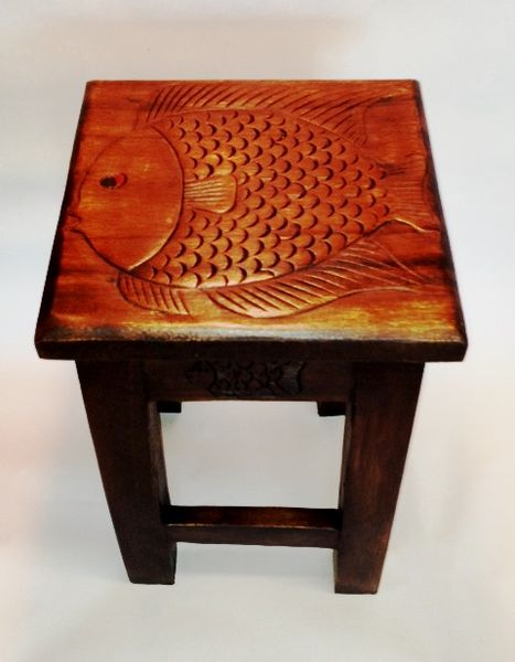 Fish End Table, Stain - Free Shipping