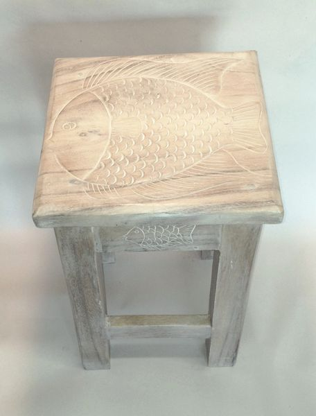 Fish End Table, W/W-End Table-Nautical Decor and Gifts