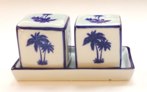 Cubes Salt and Peppers on Tray, Palm Trees